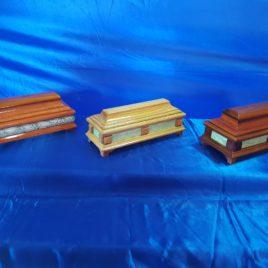 Cassettine rettangolari in legno naturale con radica 24 cm